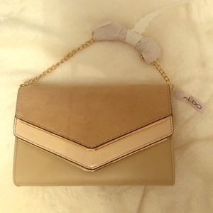 ALDO tan cross body with gold chain new with tags